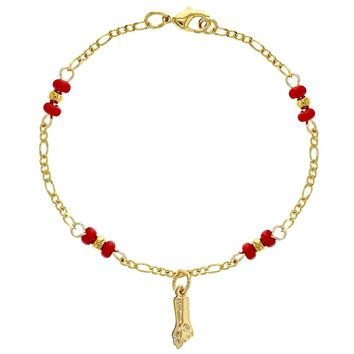 """18k Gold Plated Figa Hand Charm Red Beads Envy Protection Bracelet for Kids 5"""""""