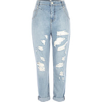 River Island Womens Light wash distressed Mom jeans