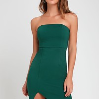 Jazzie Forest Green Strapless Bodycon Dress