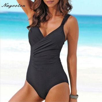 One Piece Swimsuit Women Summer Swimwear Sexy Halter Top Bathing Suit Swim Suits Push Up Ruffle Solid