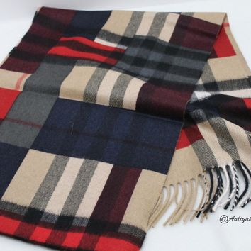 BURBERRY THE CLASSIC CASHMERE SCARF IN COLOR BLOCK CHECH NWT