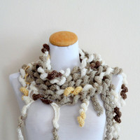 Spiral scarf, white,cream,brown colors,crochet lariat..