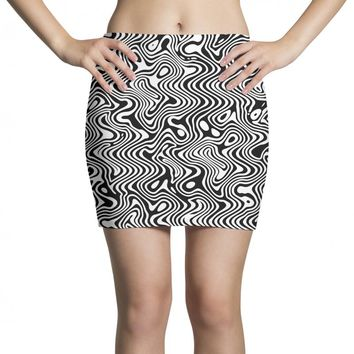 black and white abstract pattern Mini Skirts