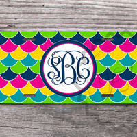 Colorful license plate - Monogrammed car or bike tag custom multicolor  monogram gift sweet 16 - 385