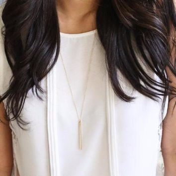 Long Skinny Vertical Bar Necklace