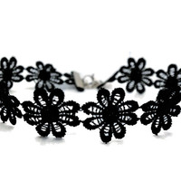 Plain Black Daisy Lace Boho Witchy Grunge Choker Necklace
