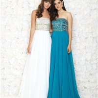 Turquoise Strapless Beaded Bodice Chiffon Gown