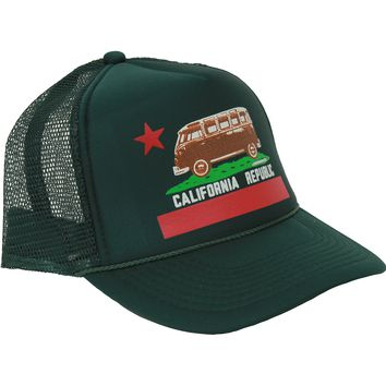 California Republic Vintage Van Snapback Hat On Forest Curve Bill