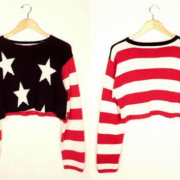 cropped stars and stripes sweater // oversize fit