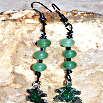 Stone Frog Earrings Beaded Earrings Direct Checkout Green Aventurine Dangle Woman Woodland