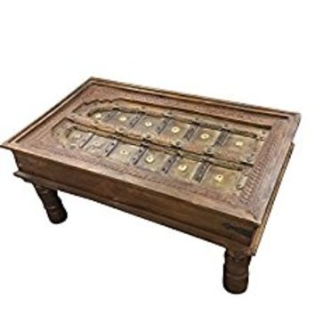 Antique Old Terrace Haveli Door Table Carved FARMHOUSE Rustic Furniture Interior Design
