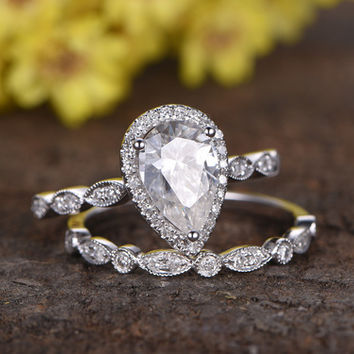 1.5 Carat Pear Shaped Moissanite Wedding Ring Sets Diamond Art Deco Matching Band 14k White Gold Halo Milgrain