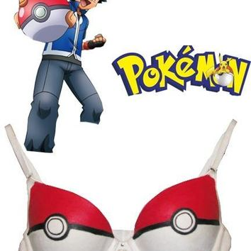 Japanese Anime Underwear  Monster Ash Ketchum Poke Ball Sweety Cosplay Bra For Women  Kawaii Pokemon go  AT_89_9