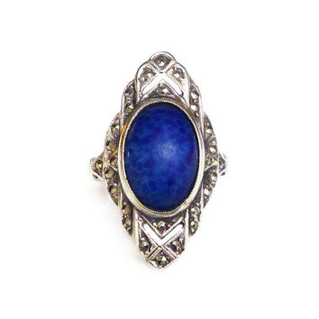 Theda Sterling Ring, Art Deco, Blue Lapis Glass, Marcasites, Ideal Manufacturing Company, Silver Jewelry, Antique Jewellery