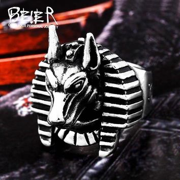 In My Kingdom! 2018 Stainless Steel Egyptian  man's ring Anubis God High-quality jewelry