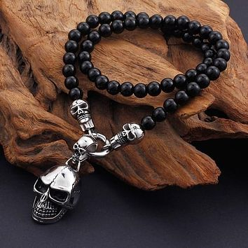 Kalen African Glass Beads 47cm Long Chain Necklaces Stainless Steel Skull Head Pendant