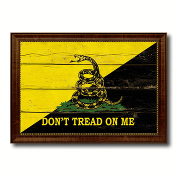 Gadsden Don't Tread on Me Military Flag Vintage Canvas Print with Brown Picture Frame Gifts Ideas Home Decor Wall Art Decoration