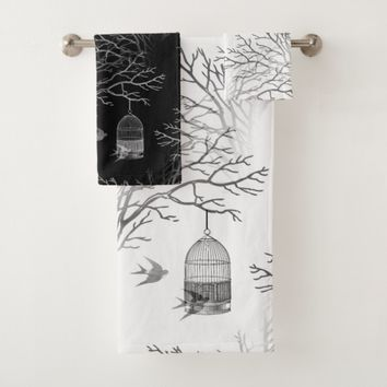 Vintage Birdcage Branch Swallows BW Towel Set