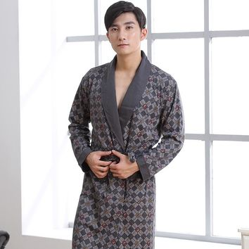 Sexy Mens Robe 100% Cotton Bathrobe Spring Autumn Nightgown Loungewear Long-sleeve Kimono XL,2XL,3XL,4XL Plus Size __4 Styles