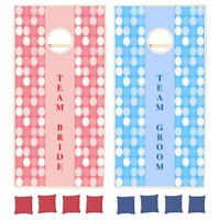 Team Bride and Groom Red and Blue Spotlights Cornhole Set