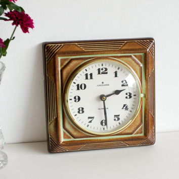 Kitchen Clock, Ceramic Quartz Wall Clock, Vintage Retro Clock, Rust Brown Green Pottery Clock, Mother's Day, Gift for her, Spring flowers