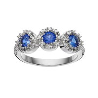 Radiant GEM Lab-Created Sapphire Sterling Silver Halo Ring (Blue)