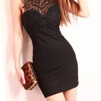 Sexy Backless Hollow Out Lace Dress for Women