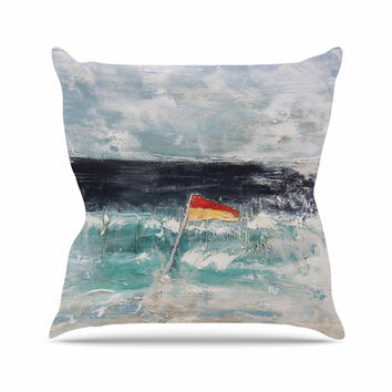 """Steve Dix """"Great Pacific Pty Ltd"""" Teal White Throw Pillow"""