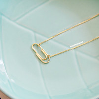 Gold Plated Paper Clip Charm Necklace, Tiny Charm Necklace, Charm Necklace, GoldPlated Necklace, Hipster, Instagram, Holiday Gifts