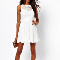 White Lace-Paneled Pleated Dress