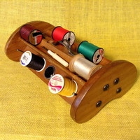 MCM Sewing Caddy - Spool Holders - Pin Cushion - Holes, Slots and Trays - Solid Wood