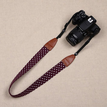 Unisex Polka Dots Digital SLR Camera Camcorder Neck Shoulder Strap Belt