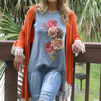 Endless Love Burnt Orange Kimono With Crochet Fringe Hem & Sleeves