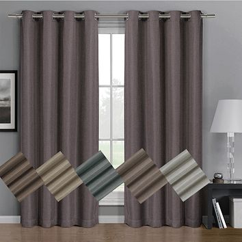 Gulfport Faux Linen Blackout Weave Grommet Window Curtain Panels