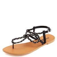 Looped & Braided Metallic Thong Sandals