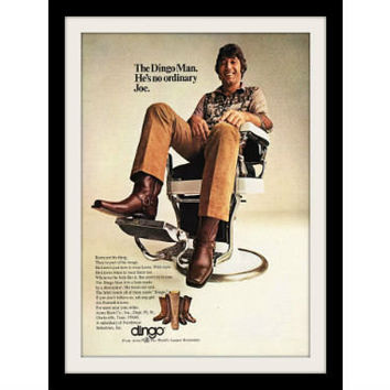 "1971 Dingo Boots Ad ""Joe Namath: Barber"" Vintage Advertisement Print"