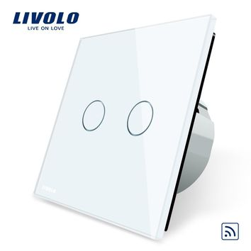 Livolo EU Standard Remote Switch Crystal Glass Panel EU standard Wall Light Remote Touch Switch+LED Indicator C702R-1 2 3 5