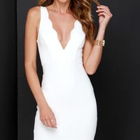 Work of Heart Midi Ivory Bodycon Dress