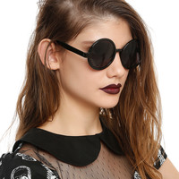 Basic Black Round Sunglasses