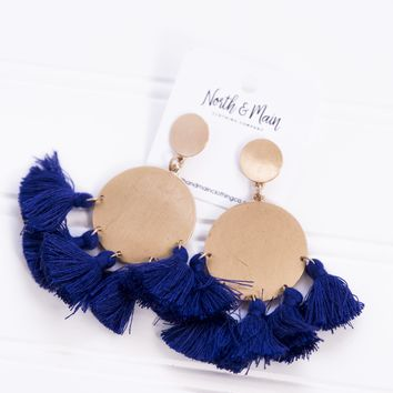 El Rey Dorado Pendant Earrings, Blue