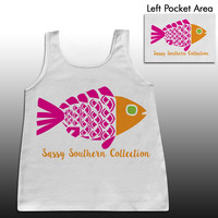 Sassy Frass Fish Fishy Sealife Lake Beach Girlie Bright Comfort Colors Tank Top