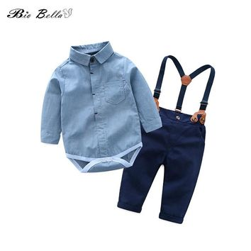 Baby Gentle Boys Clothing Set Toddler Cotton Kids Clothes Autumn Casual Children Suit Infant Bodysuit+Suspender Pants 2Pcs Sets