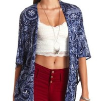 Knit Paisley Print Kimono Top by Charlotte Russe - Navy Combo