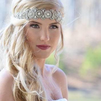 Pink Pewter Jeweled Stretch Headband  LIZZY -Wedding Prom Hair Accessory