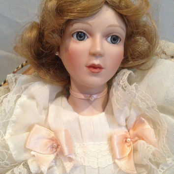 Vintage Porcelain Doll, Emily from Victorian Splendors Collection, Georgetown Collection by Joyce Reavey With Wicker Chair