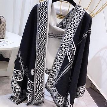 FENDI Trending Woman Men Stylish F Letter Warm Cashmere Cape Scarf Scarves Shawl Accessories Black/White I13898-1