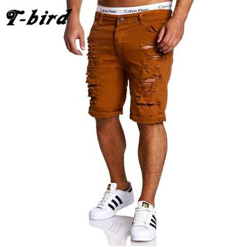 T-Bird 2017 Cargo Shorts Men Casual Solid Hole Summer Brand Clothing Cotton Male Fashion Bermuda Shorts Men Black Hot Sale M-XXL