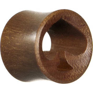 "9/16"" Organic Red Cherry Wood Play Cards Spade Hollow Tunnel Plug"