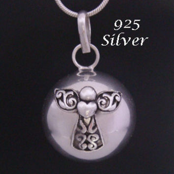 Angel Caller Harmony Ball Highly Polished Solid Sterling Silver with an Ornate S