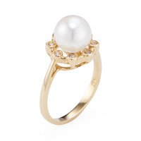 Belpearl Women's Cultured Pearl & Diamond Crown Ring - White - Size 7.25